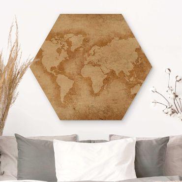 Hexagon Bild Holz - Antike Weltkarte