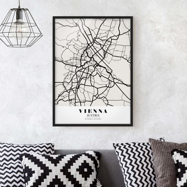 Bild mit Rahmen - Stadtplan Vienna - Klassik - Hochformat 3:4
