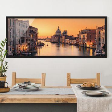 Bild mit Rahmen - Goldenes Venedig - Panorama Querformat