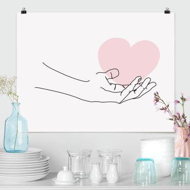 Poster - Hand mit Herz Line Art - Querformat 3:4