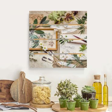 Holzbild - Blumen und Gartenkräuter Vintage - Quadrat 1:1