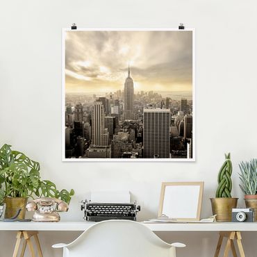 Poster - Manhattan Dawn - Quadrat 1:1