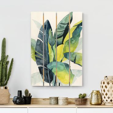 Holzbild - Tropisches Blattwerk - Banane - Hochformat 3:2