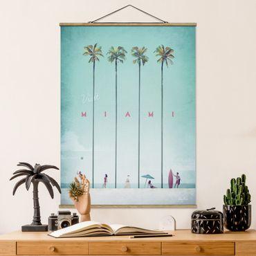 Stoffbild mit Posterleisten - Reiseposter - Miami - Hochformat 3:4