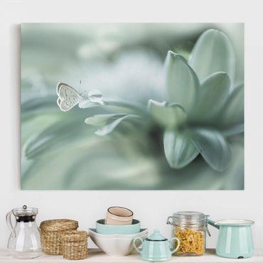 Leinwandbild - Schmetterling und Tautropfen in Pastellgrün - Querformat 3:4