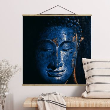 Stoffbild mit Posterleisten - Delhi Buddha - Quadrat 1:1