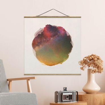 Stoffbild mit Posterleisten - Wasserfarben - Sternenhimmel über dem Meer - Quadrat 1:1