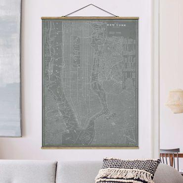 Stoffbild mit Posterleisten - Vintage Stadtplan New York Manhattan - Hochformat 4:3