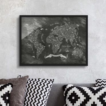 Bild mit Rahmen - Kreide Typografie Weltkarte - Querformat 3:4