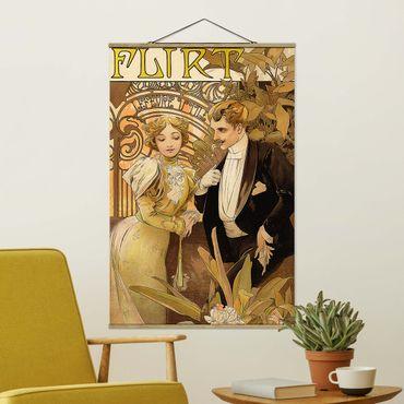 Stoffbild mit Posterleisten - Alfons Mucha - Werbeplakat für Flirt Biscuits - Hochformat 3:2