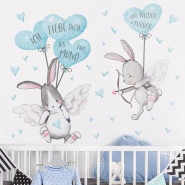 Wandtattoo - Ich liebe dich Hasen Blau