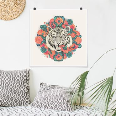 Poster - Illustration Tiger Zeichnung Mandala Paisley - Quadrat 1:1