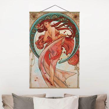 Stoffbild mit Posterleisten - Alfons Mucha - Vier Künste - Der Tanz - Hochformat 2:3