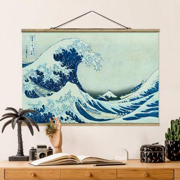 Stoffbild mit Posterleisten - Katsushika Hokusai - Die grosse Welle von Kanagawa - Querformat 3:2