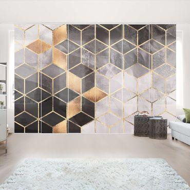 Schiebegardinen Set - Elisabeth Fredriksson - Schwarz Weiß goldene Geometrie - 6 Flächenvorhänge