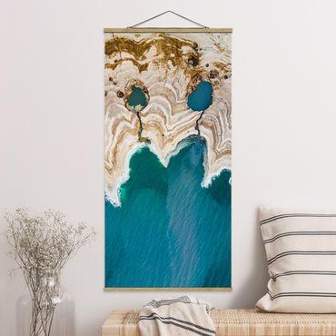 Stoffbild mit Posterleisten - Lagune in Israel - Hochformat 2:1
