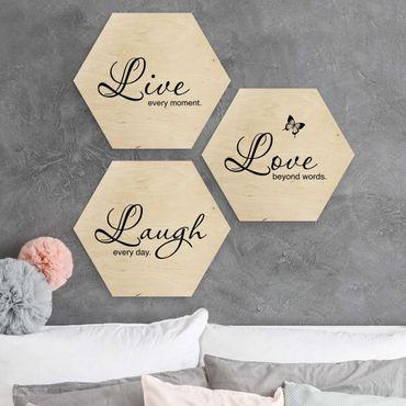 Hexagon Bild Holz 3-teilig - Live Laugh Love