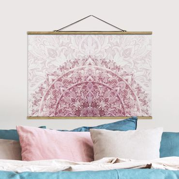 Stoffbild mit Posterleisten - Mandala Aquarell Ornament halbkreis rot - Querformat 3:2