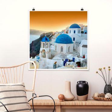 Poster - Sonnenuntergang über Santorin - Quadrat 1:1