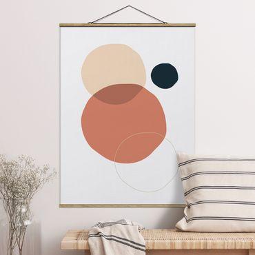 Stoffbild mit Posterleisten - Line Art Kreise Pastell - Hochformat 3:4