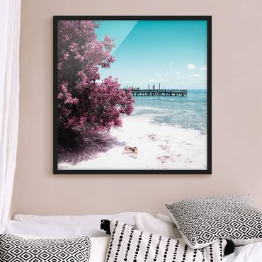 Bild mit Rahmen - Paradies Strand Isla Mujeres - Quadrat 1:1
