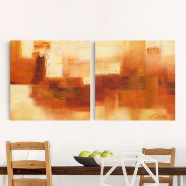 Leinwandbild 2-teilig - Komposition in Orange und Braun - Quadrate 1:1