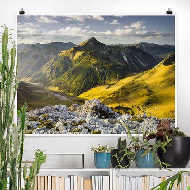 Poster - Berge und Tal der Lechtaler Alpen in Tirol - Querformat 3:4
