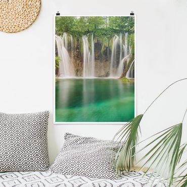 Poster - Wasserfall Plitvicer Seen - Hochformat 3:4