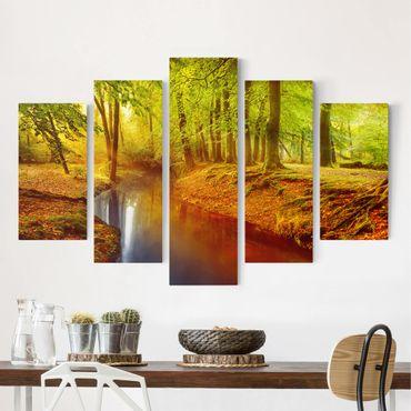 Leinwandbild 5-teilig - Herbstwald