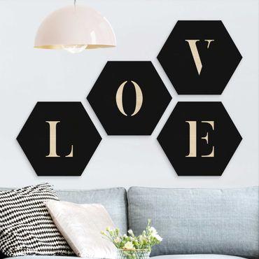 Hexagon Bild Holz 4-teilig - Buchstaben LOVE Weiß Set II