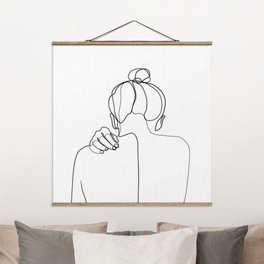 Stoffbild mit Posterleisten - Line Art Frau Nacken Schwarz Weiß - Quadrat 1:1