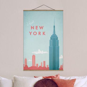 Stoffbild mit Posterleisten - Reiseposter - New York - Hochformat 3:2