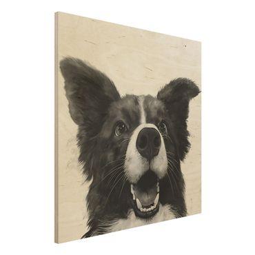 Holzbild - Illustration Hund Border Collie Schwarz Weiß Malerei - Quadrat 1:1