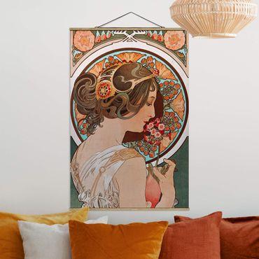 Stoffbild mit Posterleisten - Alfons Mucha - Schlüsselblume - Hochformat 2:3