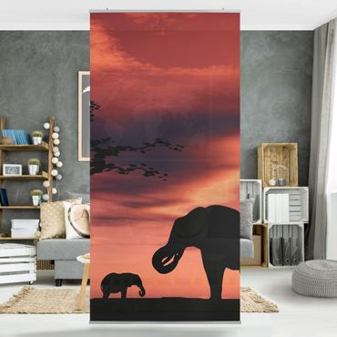 Raumteiler - African Elefant Family 250x120cm