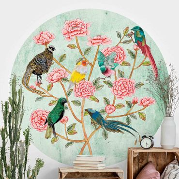 Runde Tapete selbstklebend - Chinoiserie Collage in Mint II