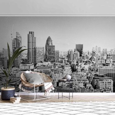 Metallic Tapete  - City of London Schwarz-Weiß