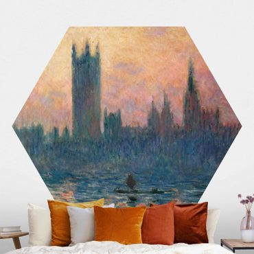 Hexagon Mustertapete selbstklebend - Claude Monet - London Sonnenuntergang