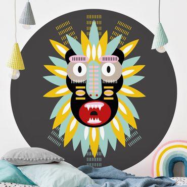 Runde Tapete selbstklebend - Collage Ethno Maske - King Kong
