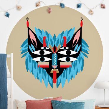 Runde Tapete selbstklebend - Collage Ethno Maske - Löwe