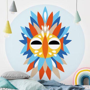 Runde Tapete selbstklebend - Collage Ethno Maske - Papagei