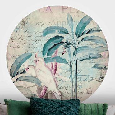 Runde Tapete selbstklebend - Colonial Style Collage - Kakadus und Palmen