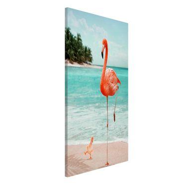 Magnettafel - Jonas Loose - Strand mit Flamingo - Memoboard Hochformat 4:3