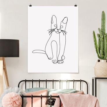 Poster - Katze Line Art - Hochformat 4:3