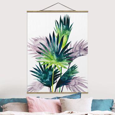 Stoffbild mit Posterleisten - Exotisches Blattwerk - Fächerpalme - Hochformat 4:3