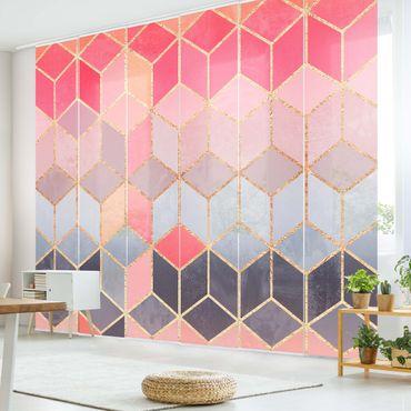 Schiebegardinen Set - Elisabeth Fredriksson - Buntes Pastell goldene Geometrie - 6 Flächenvorhänge