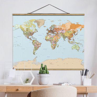 Stoffbild mit Posterleisten - Politische Weltkarte - Querformat 3:4