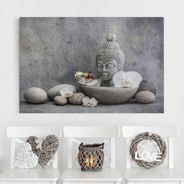 Leinwandbild - Zen Buddha, Orchideen und Steine - Querformat 2:3