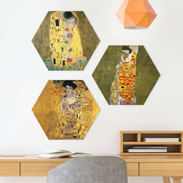 Hexagon Bild Forex 3-teilig - Gustav Klimt - Portraits