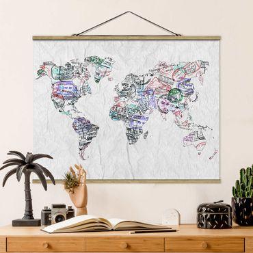 Stoffbild mit Posterleisten - Reisepass Stempel Weltkarte - Querformat 3:4